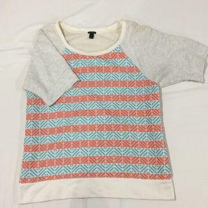 Jcrew cotton blouse with vibrant pattern